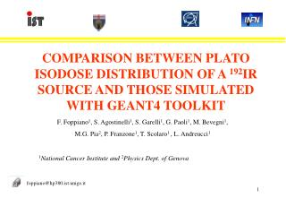 COMPARISON BETWEEN PLATO ISODOSE DISTRIBUTION OF A 192IR SOURCE AND THOSE SIMULATED WITH GEANT4 TOOLKIT