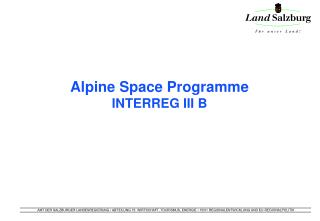 Alpine Space Programme INTERREG III B