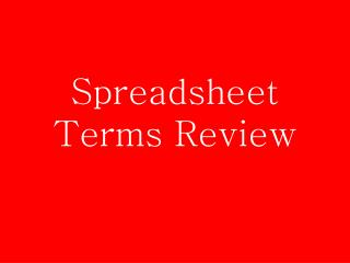 Spreadsheet Terms Review