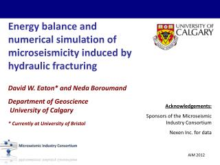Energy balance and numerical simulation of  microseismicity  induced by hydraulic fracturing