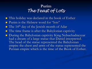 Purim The Feast of Lots