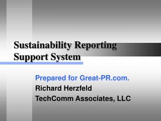 Sustainability Reporting Support System