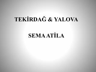 TEKİRDAĞ & YALOVA