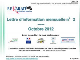 Lettre d�information mensuelle n�2 ----- Octobre 2012