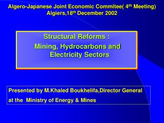 Algero-Japanese Joint Economic Commitee( 4 th  Meeting) Algiers,18 th  December 2002