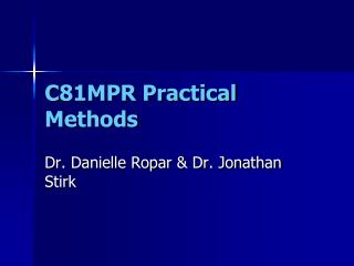 C81MPR Practical Methods
