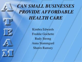 CAN SMALL BUSINESSES  PROVIDE AFFORDABLE HEALTH CARE