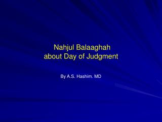 Nahjul Balaaghah about Day of Judgment