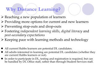 Why Distance Learning?