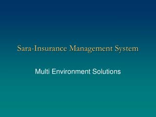 Sara-Insurance Management System