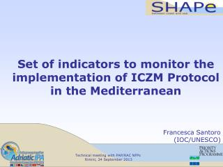 Set of indicators to monitor the implementation of ICZM Protocol in the Mediterranean