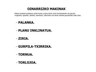 OINARRIZKO MAKINAK