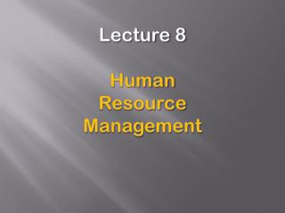 Lecture 8 Human  Resource  Management