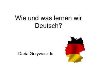 Wie und was lernen wir Deutsch?