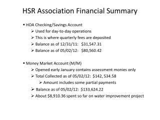 HSR Association Financial Summary