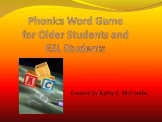 Phonics Word Game for Older Students and  ESL Students