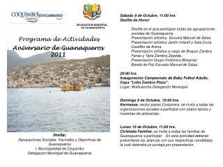 Invita: Agrupaciones Sociales, Vecinales y Deportivas de  Guanaqueros I. Municipalidad de Coquimbo