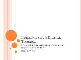 Building your Digital Toolbox