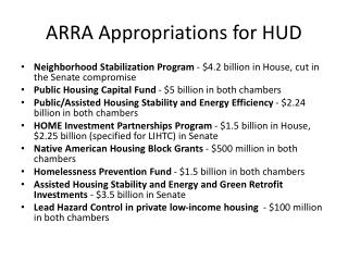 ARRA Appropriations for HUD