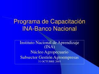 Programa de Capacitación  INA-Banco Nacional