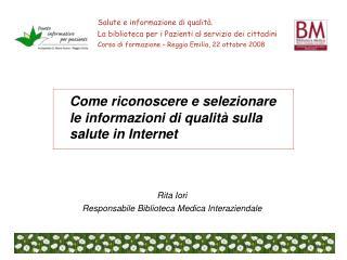 Come riconoscere e selezionare le informazioni di qualità sulla salute in Internet