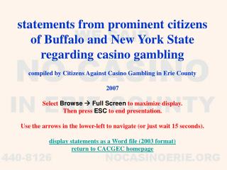 statements from prominent citizens of Buffalo and New York State regarding casino gambling