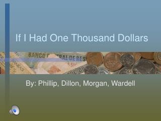 If I Had One Thousand Dollars