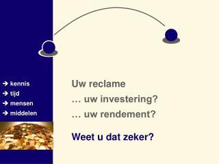 Uw reclame … uw investering? … uw rendement?