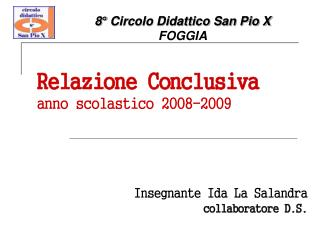 Relazione Conclusiva anno scolastico 2008-2009