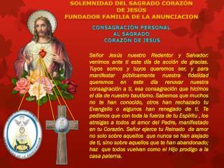 CONSAGRACIÓN PERSONAL AL SAGRADO  CORAZÓN DE JESÚS