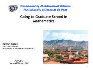 Going to Graduate School in Mathematics