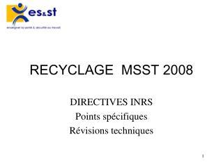 RECYCLAGE  MSST 2008