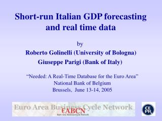 Short-run Italian GDP forecasting and real time data