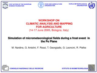 Simulation of micrometeorological fields during a frost event  in the Po Plane