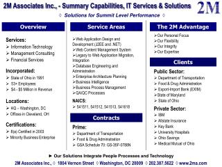 2M Associates Inc., - Summary Capabilities, IT Services & Solutions