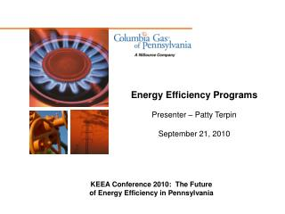 Energy Efficiency Programs Presenter – Patty Terpin September 21, 2010