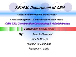 KFUPM: Department of CEM
