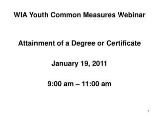 WIA Youth Common Measures Webinar