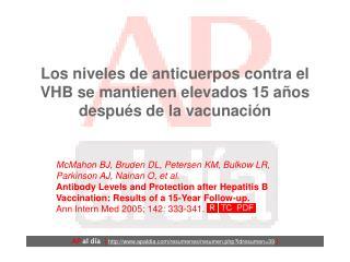 Los niveles de anticuerpos contra el VHB se mantienen elevados 15 años después de la vacunación