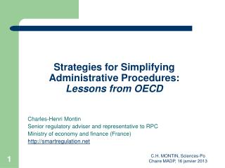 Strategies for Simplifying Administrative Procedures: Lessons from OECD