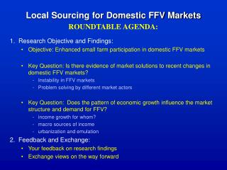Local Sourcing for Domestic FFV Markets