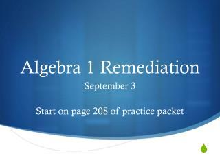 Algebra 1 Remediation