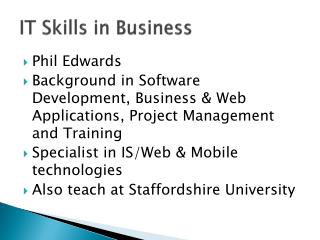 IT Skills in Business