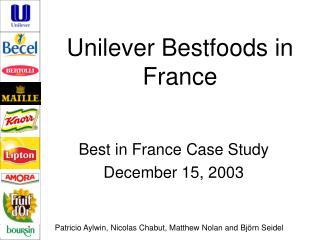 Unilever Bestfoods in France