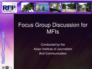 Focus Group Discussion for MFIs