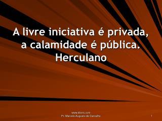 A livre iniciativa é privada, a calamidade é pública. Herculano