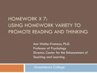 Homework  x  7:  Using Homework Variety to Promote Reading and Thinking