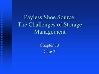 Payless Shoe Source:    The Challenges of Storage Management