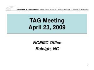 TAG Meeting April 23, 2009