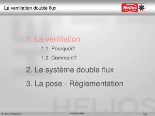 1. La ventilation 1.1. Pourquoi? 1.2. Comment? 2. Le système double flux